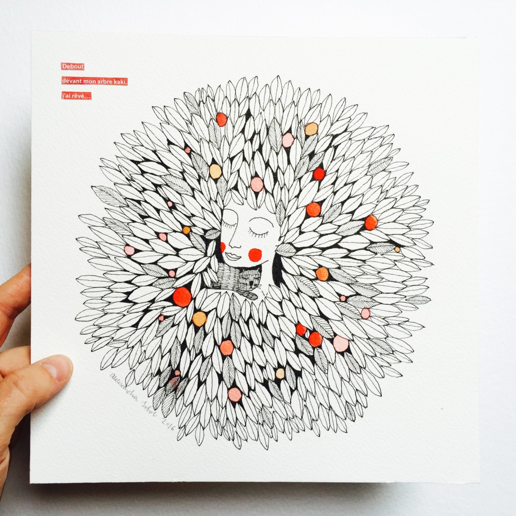 Illustration arbre kaki olalarte - Arbre a kaki ...