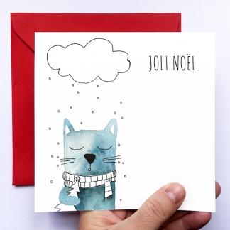 CARTE  DE VOEUX – CHAT DE NOËL