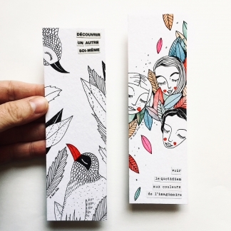 MINI-ILLUSTRATION MARQUE-PAGES FEUILLES